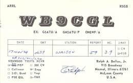 Amateur Radio QSL - WB9CGL - Normal, IL -USA- 1974 - 2 Scans - Radio Amateur