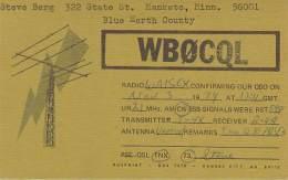 Amateur Radio QSL - WB0CQL - Mankato, MN -USA- 1974 - 2 Scans - Radio Amateur