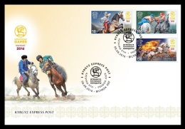 Kyrgyzstan (KEP) FDC 2016 Mih. 40/42 Sport. World Nomad Games. Fauna. Horses - Kyrgyzstan