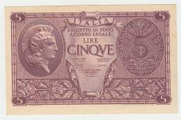 ITALY 5 Lire 1944 AUNC+  Pick 31c 31 C - [ 1] …-1946 : Kingdom