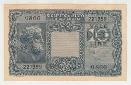 ITALY 10 Lire 1935 (1944) AUNC Pick 32b 32 B - [ 1] …-1946 : Kingdom