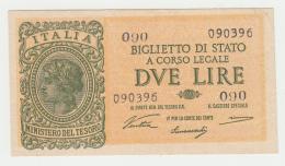 Italy 2 Lire 1944 XF Pick 30a 30 A - [ 1] …-1946 : Koninkrijk
