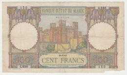 Morocco 100 Francs 1941 G-VG Banknote Pick 20 - Maroc