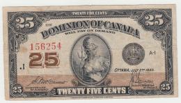 "CANADA 25 CENTS 1923 ""F+"" Pick 11b 11 B - Canada"
