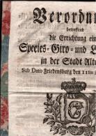 ! Rare Verordnung, Errichtung Einer Giro- Und Leihbank In Altona 1776, Copenhagen, Sparkasse, Hamburg, Banking, Banque - …-1871: Altdeutschland