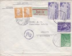 Beyoğlu- Istanbul - Wien - Bellach 12.11. 1943, Par-avion. Zum:Paar 907+1005+1003+Paar 1053+ Beisteuermarke 60 - 1921-... République