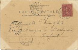 1904- C P A De Porto Novo  Affr. 10 C Semeuse Oblit. Cad Hexag. MARSEILLE A LOANGO * L.M. N°2 - Marcofilie (Brieven)