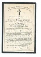 IMAGE PIEUSE..AVIS De DECES MEMENTO François ESTEBE, Prés. Fabrique Paroisse Ste Trinité CHERBOURG (50) Décédé En 1887 - Santini