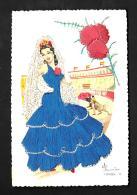 [DC3139] CPA - RICAMATA CORRIDA SPAGNA ESPAGNA RILIEVO FIRMATA ELSI GUMIER - Non Viaggiata - Old Postcard - Ricamate