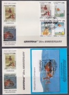Cambodia 1997  Helicopters Greenpeace 4v  + M/s 2 FDC (GPFDC104) - Cambodja