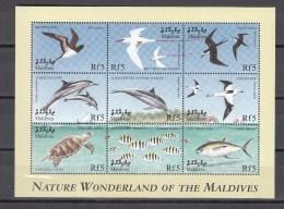 Maladives Maldives 1999,9V In Block,birds,vogels,vögel,oiseaux,pajaros,dolphins,dolfijnen,turtle,fish,MNH/Postfris(L2463 - Vogels