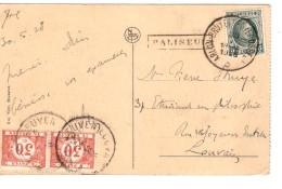 TP 193 S/CP De Bouillon Château C.ambt Arlon-BXL+griffe Paliseul 30/5/1928 V.Louvain Taxée 60c Par Tx 35 C.Leuven PR3262 - Postmark Collection