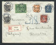 L Recom Affr 1o X2 + 3o + 10o + 20o +25o De NASSJO/1926 Pour Bruxelles - Suède