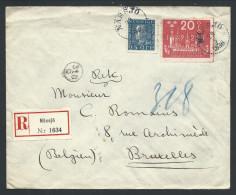 L Recom Affr 20o + 25o De Cachet Perlé  NASSJO/1926 Pour Bruxelles - Lettres & Documents