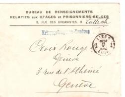 Lettre En Franchise Bureau De Renseignements Otages&prisonniers Belges C.Liège 11/5/1915 V.Croix Rouge Genève PR369