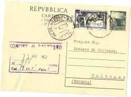 REPUBBLICA -CARTOLINA ITALIANA CON RISPOSTA PAGATA £ 15 + FRANCOBOLLO £ 5 ITALIA AL LAVORO - Entiers Postaux
