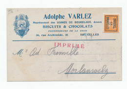 976/23 - Carte Publicitaire PREO Bruxelles 1913 - Biscuits Et Chocolats De Beukelaer , Anvers - ABEILLES - Typos 1912-14 (Lion)