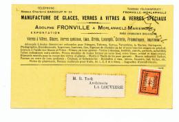 977/23 - Carte Publicitaire PREO Bruxelles 1914 - Glaces Et Verres à Vitres Fronville à MORLANWELZ MARIEMONT - Precancels