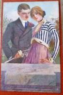 Litho Chromo Illustrateur Stampa Milano 109 - 4  GUERINONI GUERZONI COUPLE AMOUREUX MUR MARBRE ET ROSES - Guerinoni