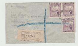 Par038 /  PARAGAUY - Denkmal Vision Zu 40 C. (3 X) Einschreiben Nach Prag Per Luftpost (Brief, Cover, Lettre) - Paraguay