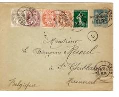 Entier CL 15 Surchargé Taxe Réduite à 0,10 C +TP C.Condé (Nord) 22/12/1908 V.St.Ghislain C.d'arrivée PR3275 - Entiers Postaux