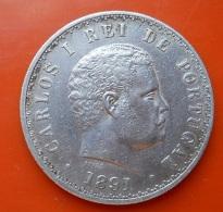 Portugal 500 Reis 1891 D. Carlos I Silver