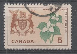 Canada 1964. Scott #418 (U) White Trillium And Arms Of Ontario - 1952-.... Règne D'Elizabeth II