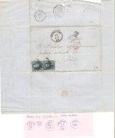 TP 11(2) S/LAC écrit De Hornu C.St.Ghislain 22/1/1862 V.Paris Voir Descriptif PR3278 - 1858-1862 Medallions (9/12)