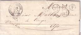 VAUCLUSE - PERNES DE VAUCLUSE - BOITE RURALE F DE ST DIDIER (COULEUR BLEU) DU 18 JUIN 1861 - TAXE 25 DOUBLE TRAIT. - Marcophilie (Lettres)