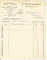 FACTURE J. CHARMASSON SCIERIE PARQUETERIE à GAP 1919 - 1900 – 1949