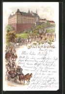 Lithographie Altenburg, Fest-Umzug Mit Kutschen Am Schloss - Altenburg