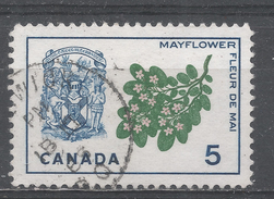 Canada 1965, Scott #420 Mayflower And Arms Of Nova Scotia (U) - 1952-.... Règne D'Elizabeth II
