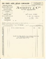 FACTURE ANDRETY & Cie FERS FONTES à GAP 1953 - 1950 - ...
