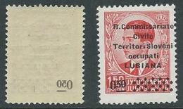 1941 LUBIANA SOPRASTAMPATO 0,50 SU 1,50 D DECALCO MNH ** - M62-8 - Ljubljana