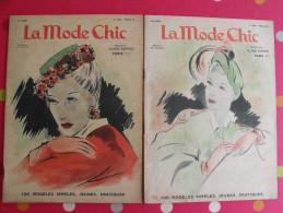 """2 Revues """"la Mode Chic"""". 1946. Féminine Mode Chapeaux Robes Tricot Haute Couture - Fashion"""