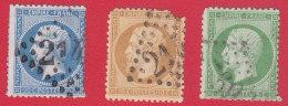 Napoléon N° 20-21-22, 5-10-20c Oblitéré / Cancelled - 1852 Louis-Napoléon