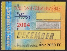 Combined Metro Tramway Bus Train BUDAPEST HUNGARY Ticket / Student Pensioner - Month Ticket - 2004 - Hologram Holography - Europa