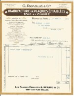 FACTURE A. RENAUD & Cie MANUFACTURE DE TOLES EMAILLEES à MOREZ DU JURA 1932 - Frankreich