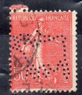N°199 - Type Semeuse Lignee - 50 C Rouge  -  Perforé  VACHE - France
