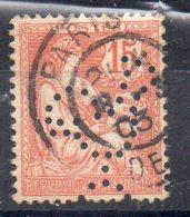N°117 - Type  MOUCHON - 15 C Orange  -  Perforé  COQ - France