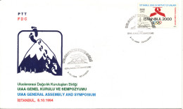 Turkey FDC Istanbul 5-10-1994 UIAA General Assembly And Symposium Cachet And Olympic Games Stamp - 1921-... République