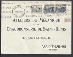 FR - 1938 - AFFRANCHISSEMENT DE TIMBRES ORPHELINS SUR ENVELOPPE D' ARGENTEUIL VERS SAINT-DENIS - - Storia Postale
