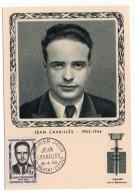 CARTE MAXIMUM - HEROS DE LA RESISTANCE - JEAN CAVAILLES - TAMPON PREMIER JOUR A SAINT-MAIXENT-L'ECOLE - 1958 - - 1950-59