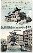 CPA Humoristique ALLEMAGNE - Feucht-Frohliche Grusse Aus Dem Schönen Stettin - Manzelbrunnen - Pommern