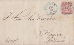NDP Brief EF Minr.4 Blauer K1 Bremen 4.1.69 Gel. Nach Böhmen - Norddeutscher Postbezirk