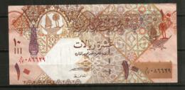 QATAR  10 RIYALS , Billet Bon état - Qatar