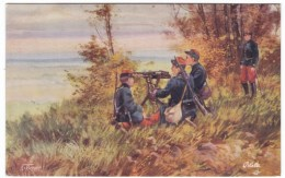 WWI Machine Gun, Artist Signed Image On C1910s Vintage Tuck Series European War 1914 French Army #II Postcard - War 1914-18