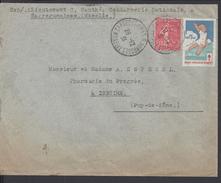 FR - 1931 -  SEMEUSE 50 Ct + VIGNETTE TUBERCULOSE SUR ENVELOPPE DE SARREGUEMINES VERS ISSOIRE - - 1921-1960: Periodo Moderno