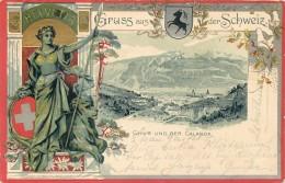 SWITZERLAND - GRUSS AUS DER SCHWEIZ - CHUR UND DER CALANDA - 1905 - STAMP - UNDIVIDED BACK - VINTAGE ORIGINAL POSTCARD - GR Grisons