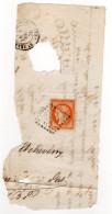 1875--Fragment De Lettre Cachet St Jean Pied De Port-64--tp N°38  Cérès 40c Orange Cachet Losange--- - 1849-1876: Période Classique